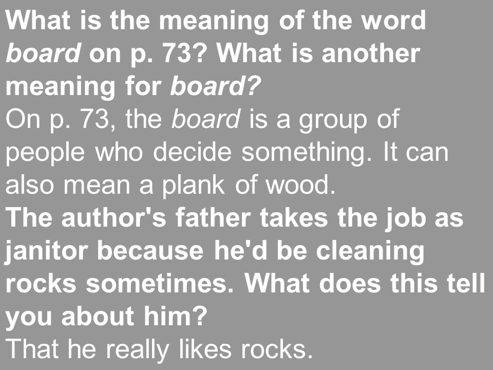 What is the meaning of the word board on p. 73