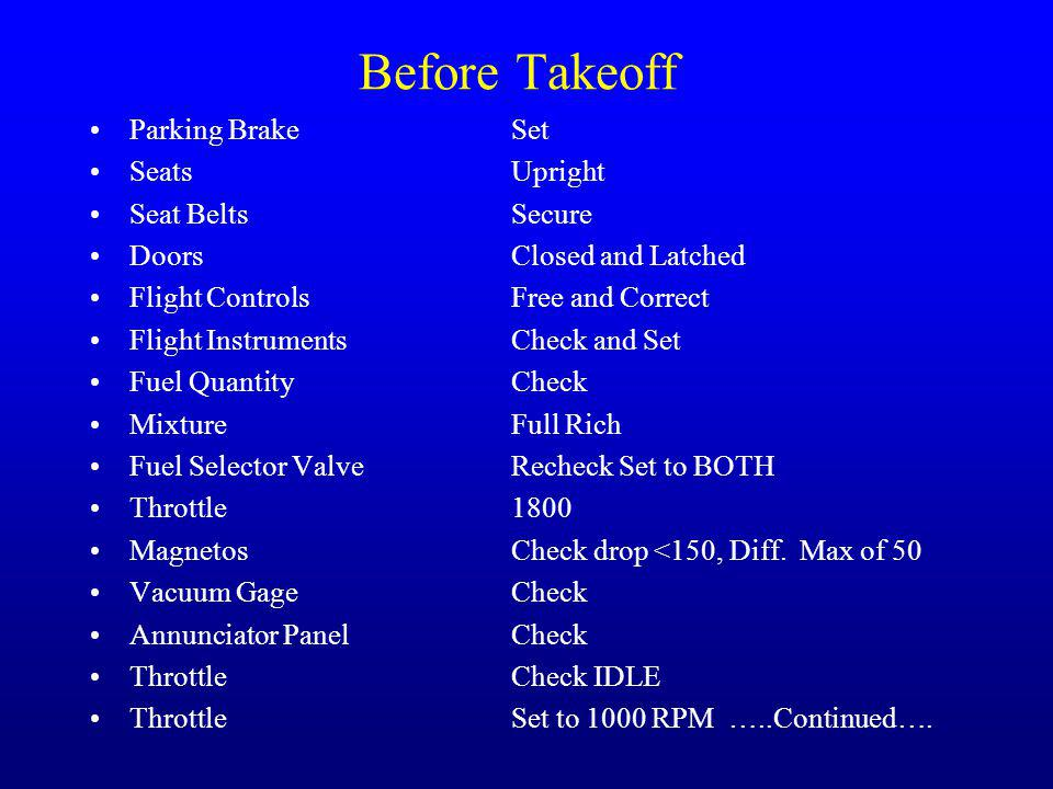 Before Takeoff Parking Brake Set Seats Upright Seat Belts Secure