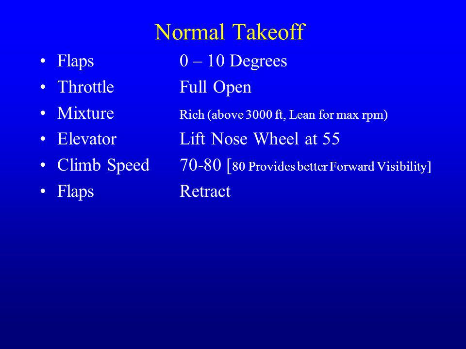 Normal Takeoff Flaps 0 – 10 Degrees Throttle Full Open