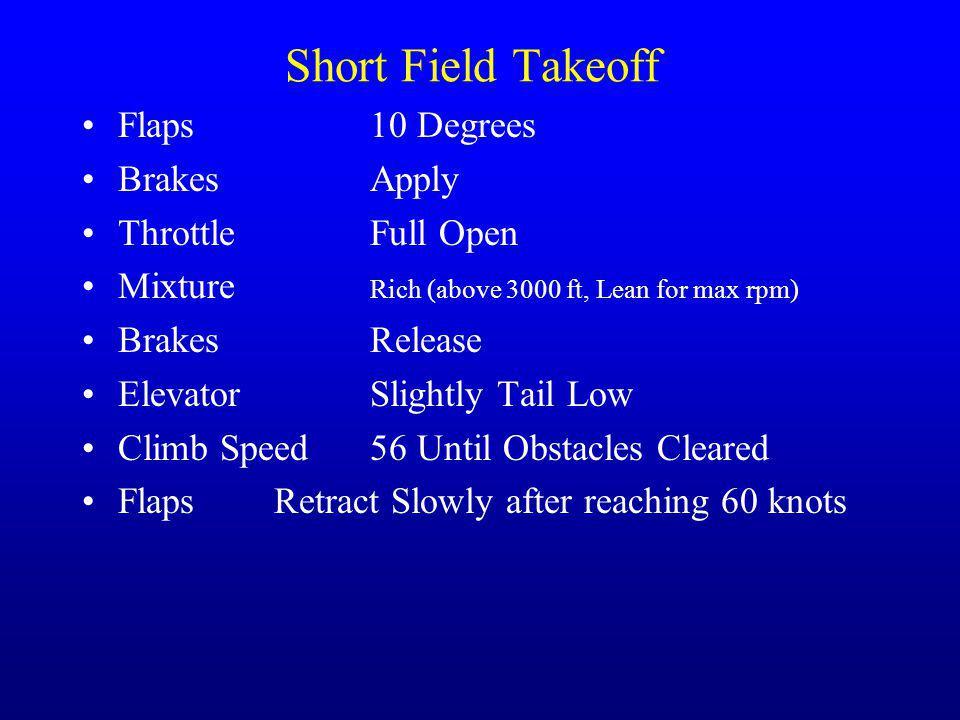 Short Field Takeoff Flaps 10 Degrees Brakes Apply Throttle Full Open