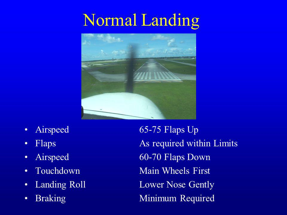 Normal Landing Airspeed 65-75 Flaps Up Flaps As required within Limits