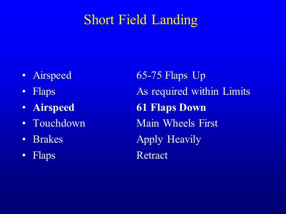 Short Field Landing Airspeed 65-75 Flaps Up