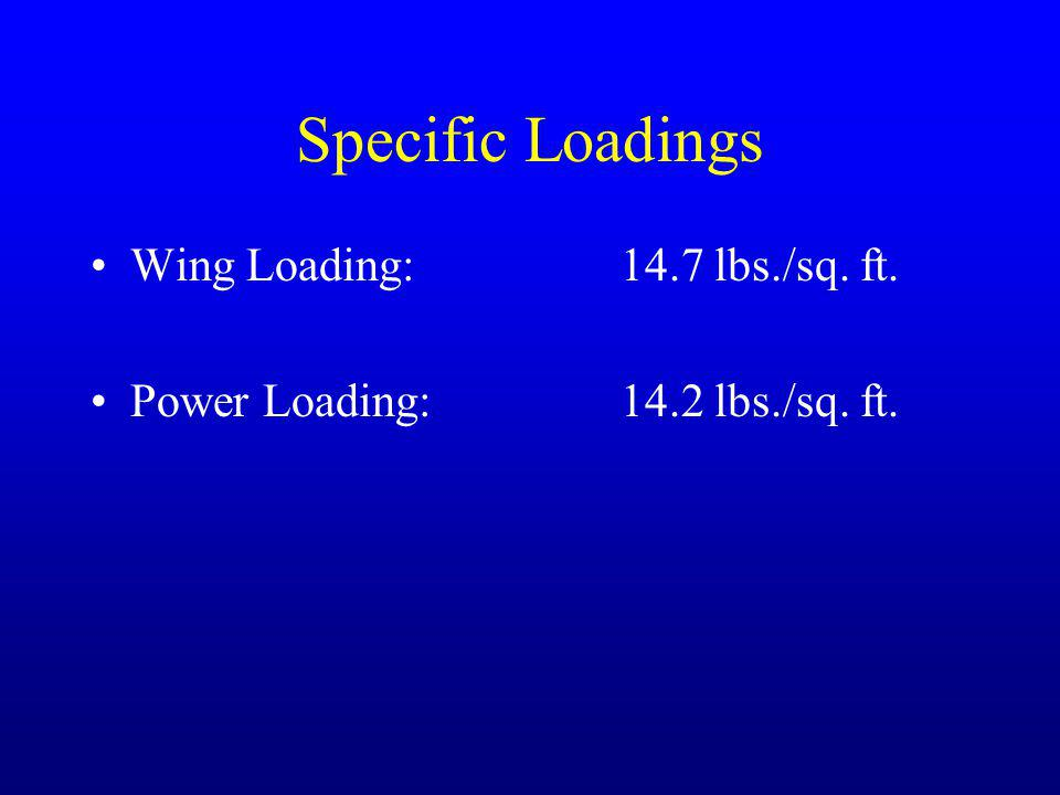 Specific Loadings Wing Loading: 14.7 lbs./sq. ft.