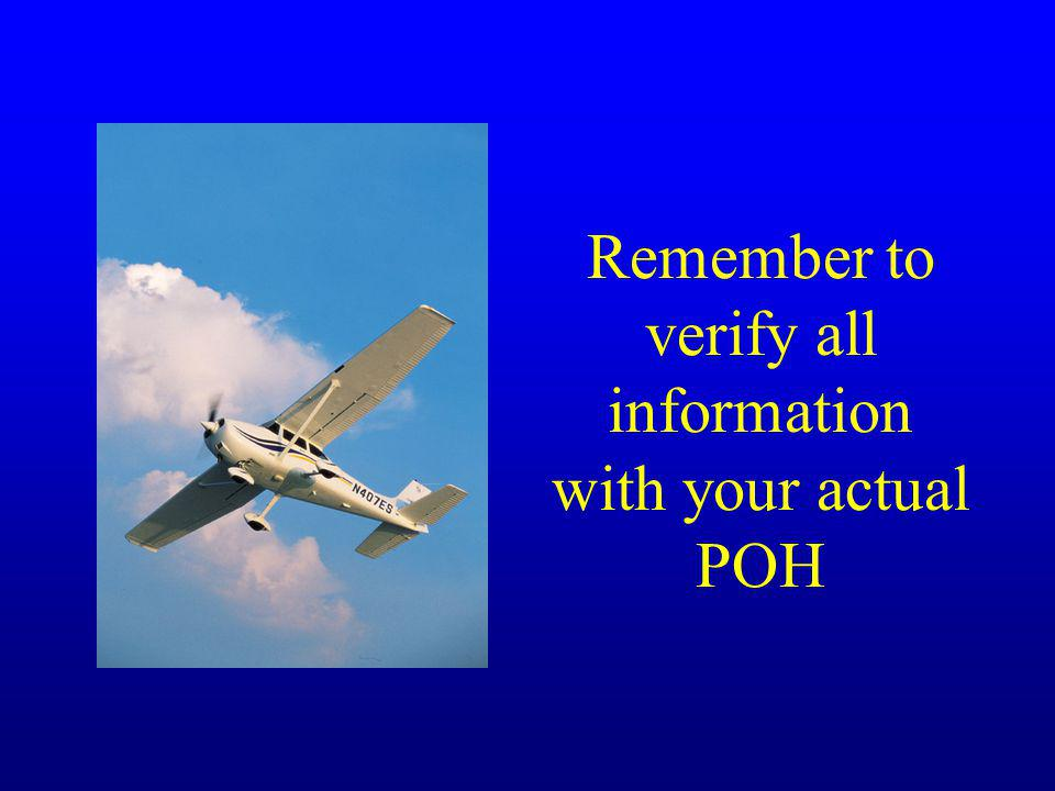 Remember to verify all information with your actual POH