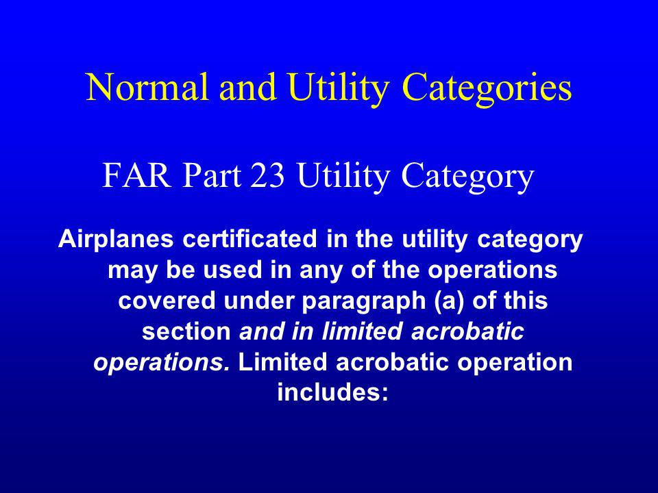 Normal and Utility Categories
