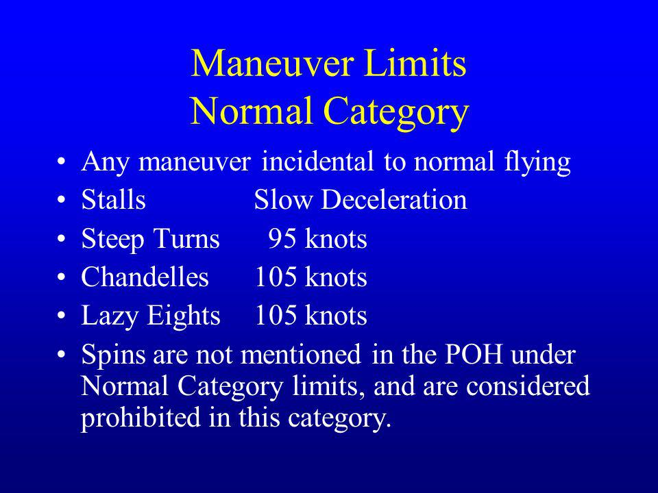 Maneuver Limits Normal Category