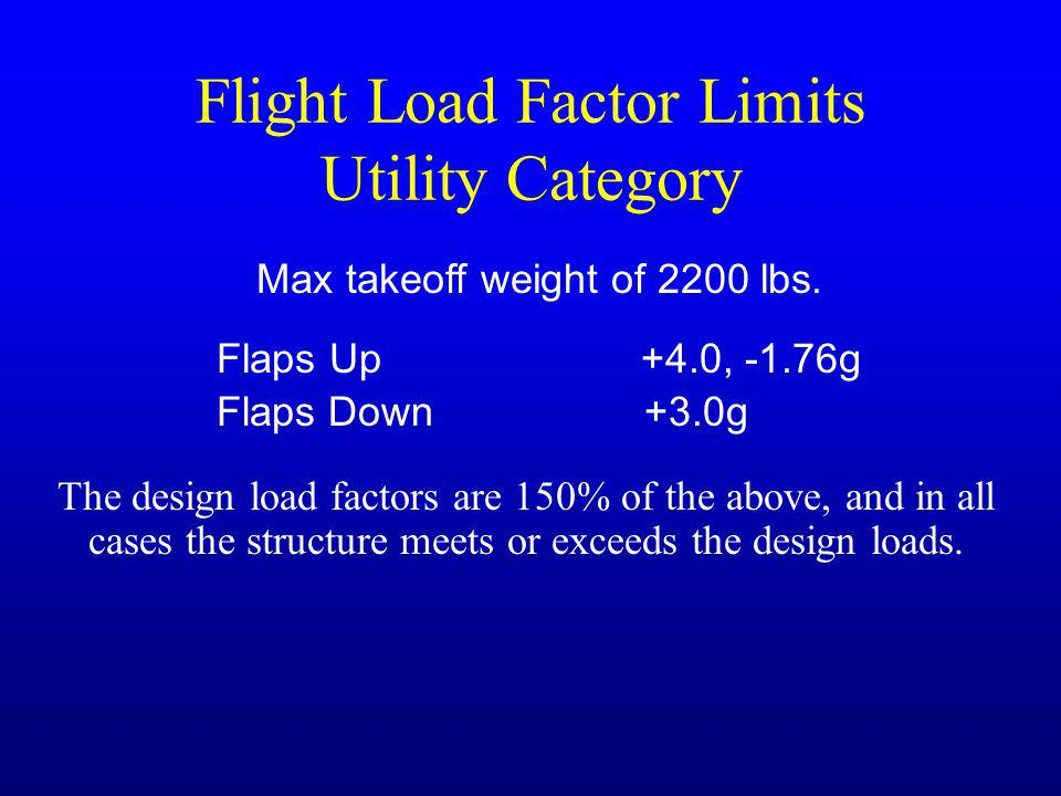 Flight Load Factor Limits Utility Category