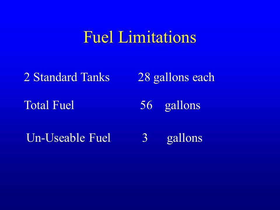 Fuel Limitations 2 Standard Tanks 28 gallons each