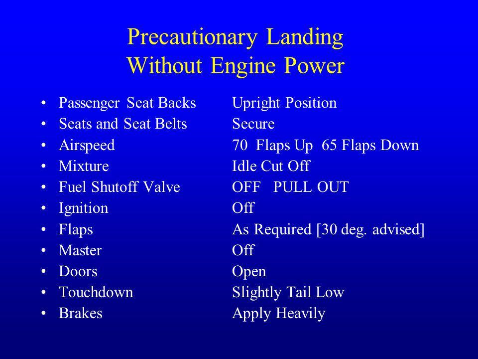 Precautionary Landing Without Engine Power
