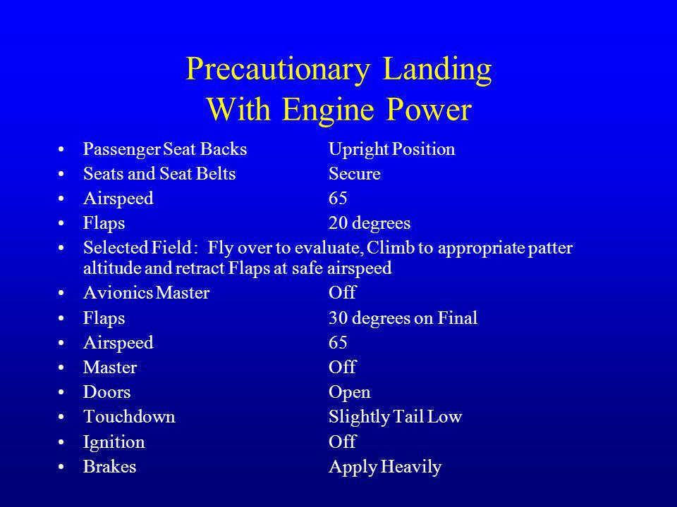 Precautionary Landing With Engine Power