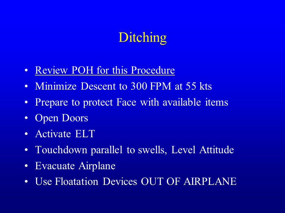 Ditching Review POH for this Procedure