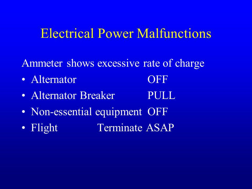Electrical Power Malfunctions