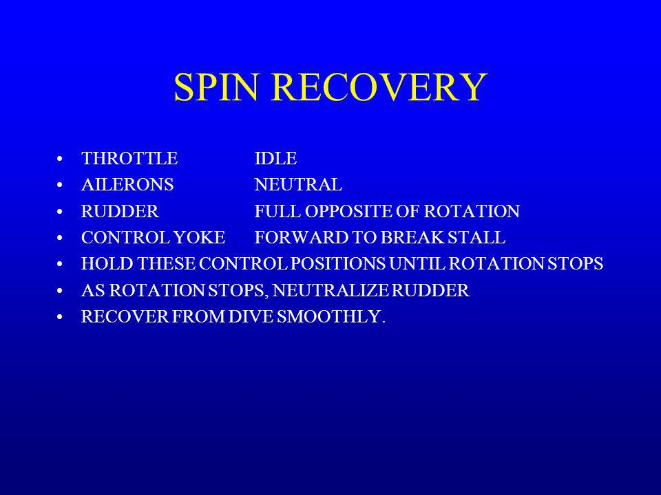 SPIN RECOVERY THROTTLE IDLE AILERONS NEUTRAL