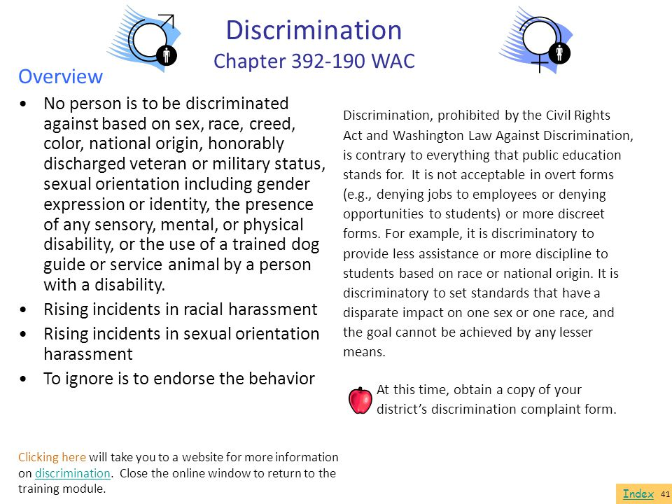 Discrimination Chapter 392-190 WAC Overview