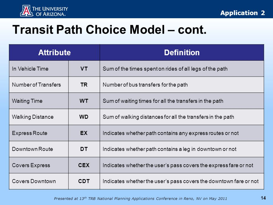 Transit Path Choice Model – cont.
