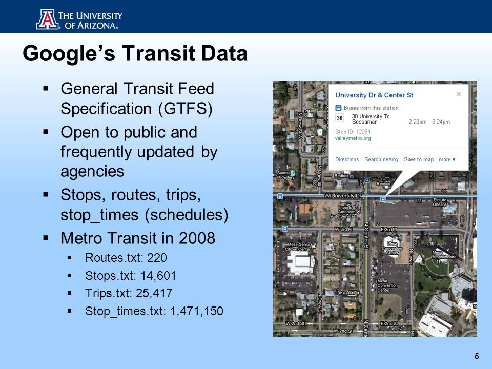 Google's Transit Data General Transit Feed Specification (GTFS)