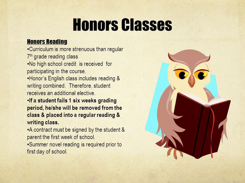 Honors Classes Honors Reading