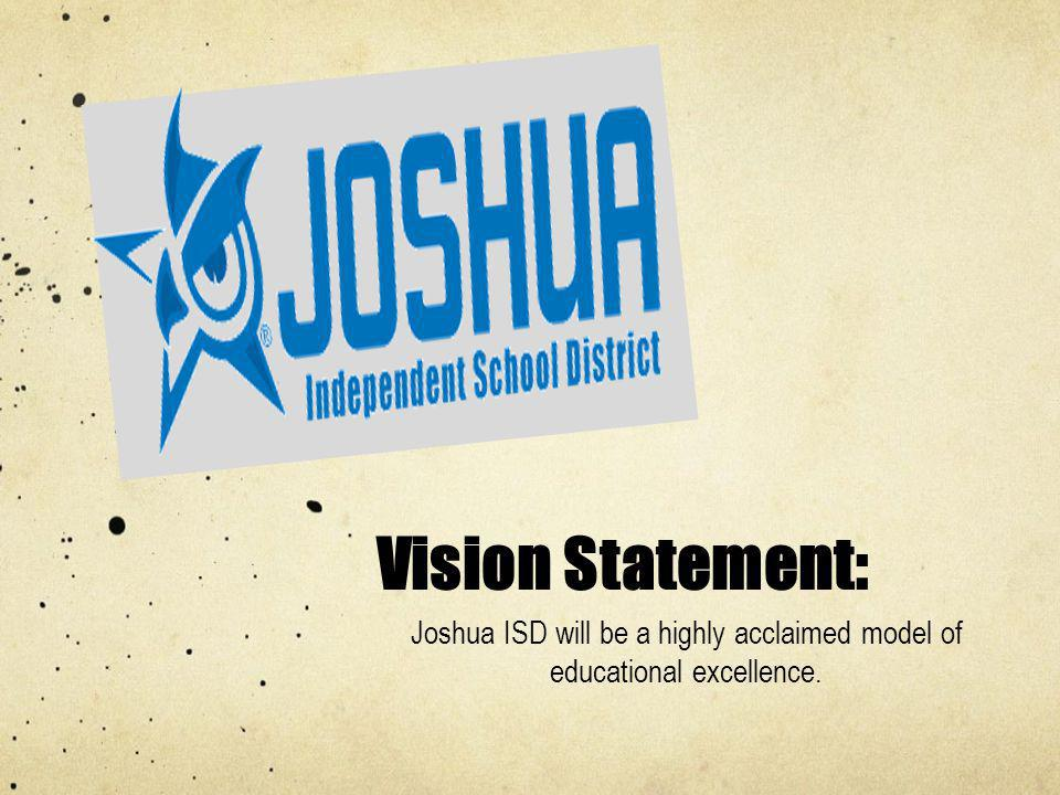 Joshua ISD will be a highly acclaimed model of educational excellence.