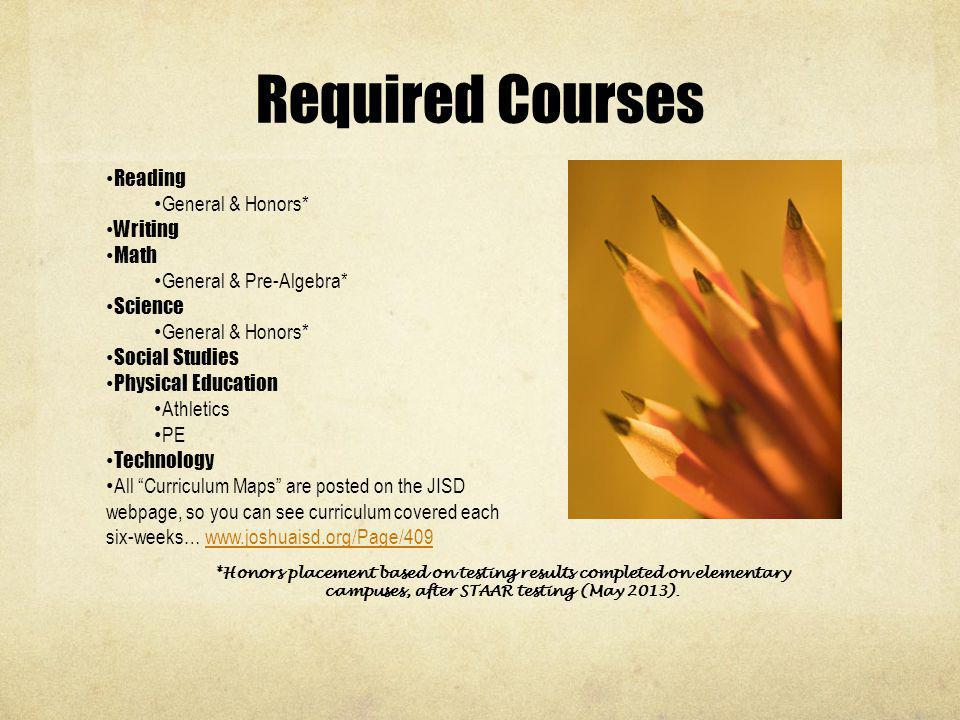 Required Courses Reading General & Honors* Writing Math