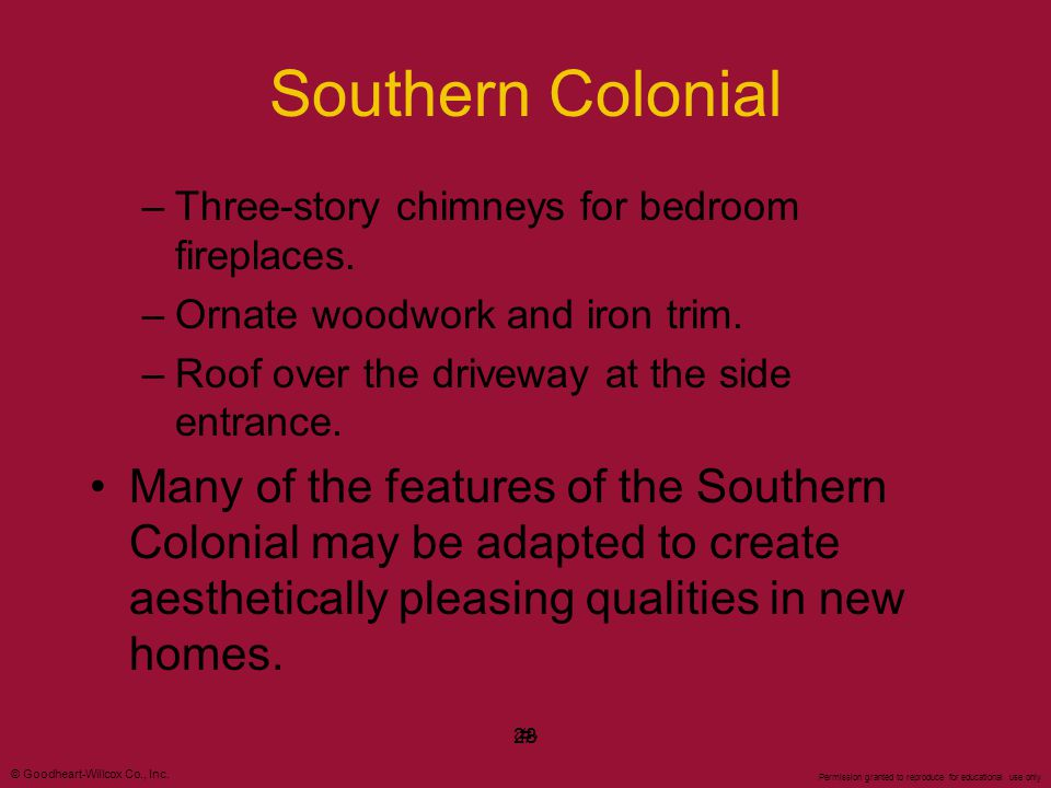 Southern Colonial Three-story chimneys for bedroom fireplaces. Ornate woodwork and iron trim. Roof over the driveway at the side entrance.