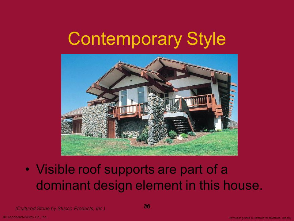 Contemporary Style Visible roof supports are part of a dominant design element in this house. ‹#› 36.