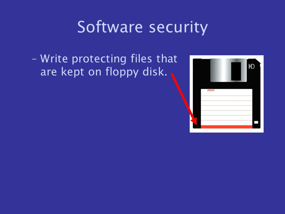 Software security Write protecting files that are kept on floppy disk.