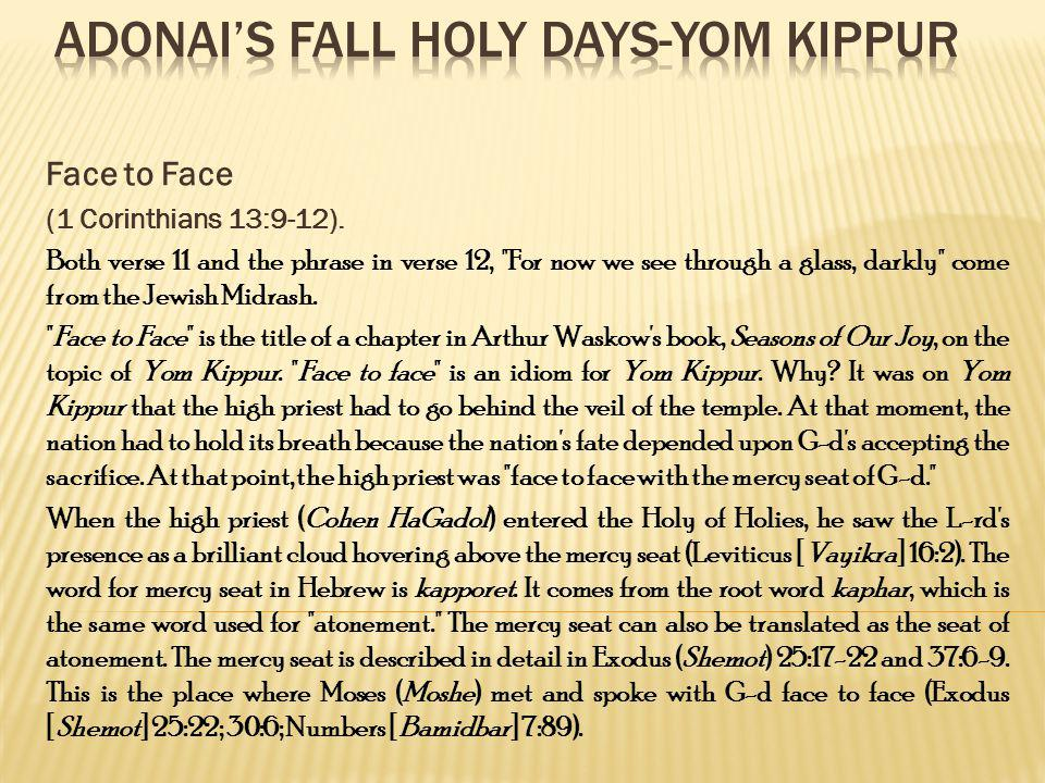 Adonai's Fall Holy Days-Yom Kippur