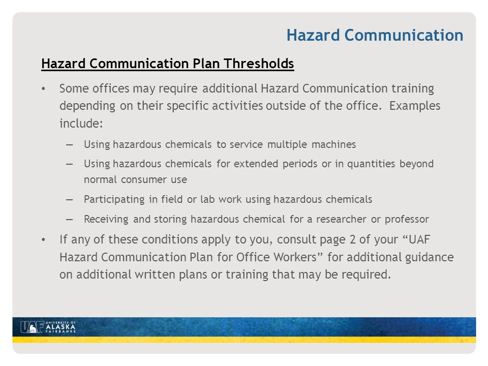 Hazard Communication Hazard Communication Plan Thresholds