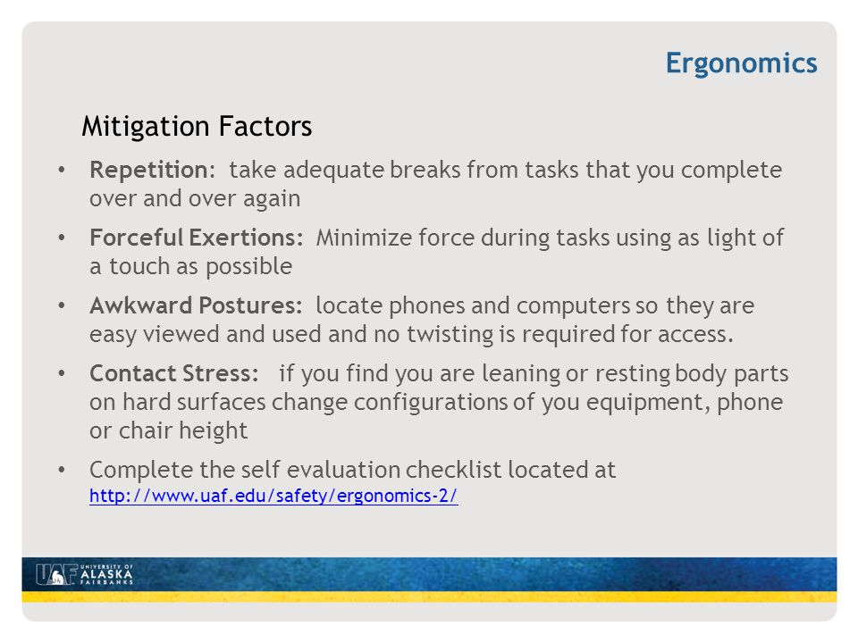 Ergonomics Mitigation Factors