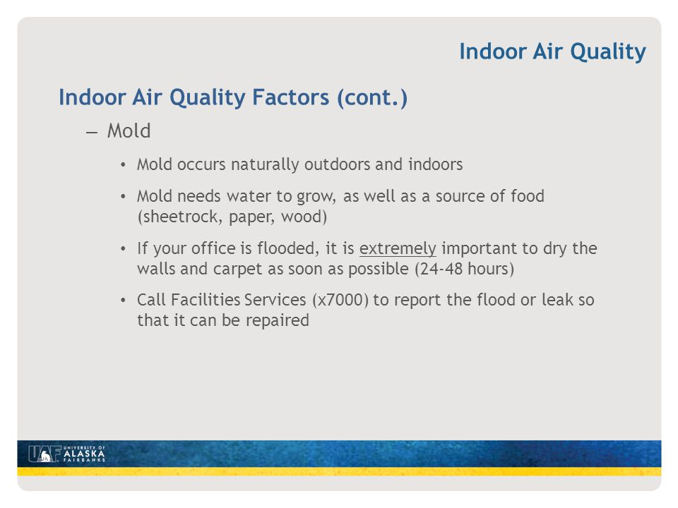 Indoor Air Quality Factors (cont.)