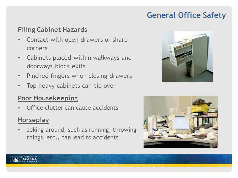 General Office Safety Filing Cabinet Hazards Poor Housekeeping