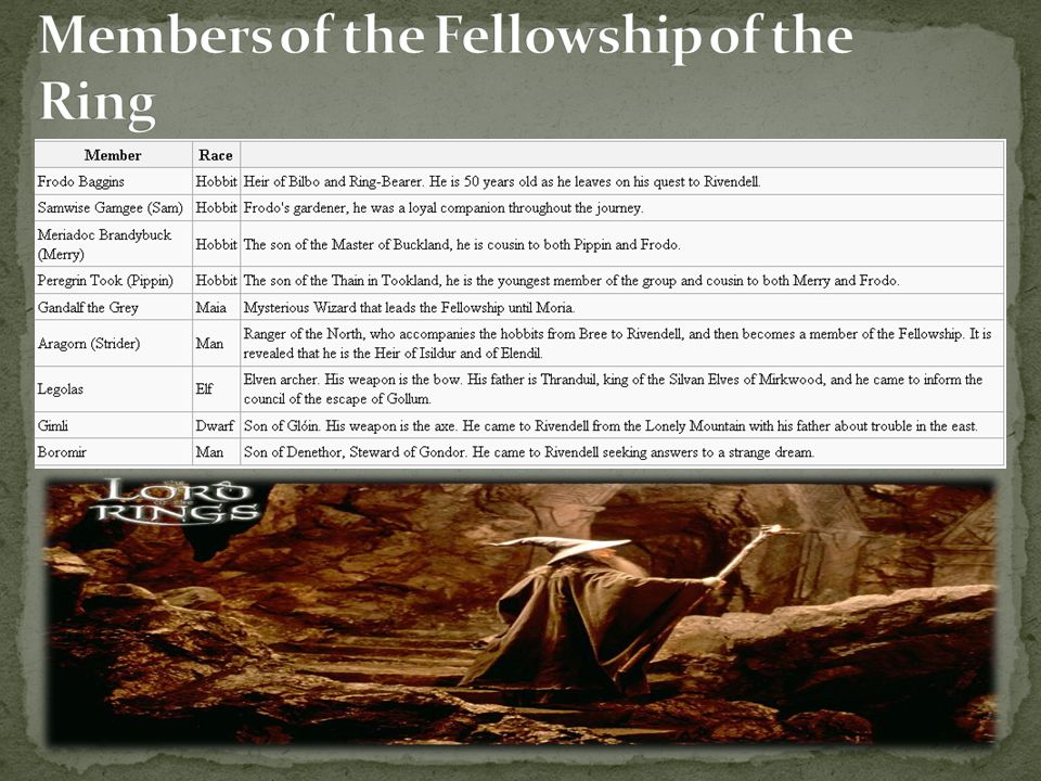 Members of the Fellowship of the Ring