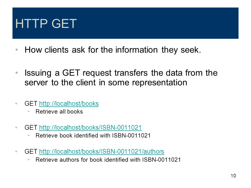 HTTP GET How clients ask for the information they seek.