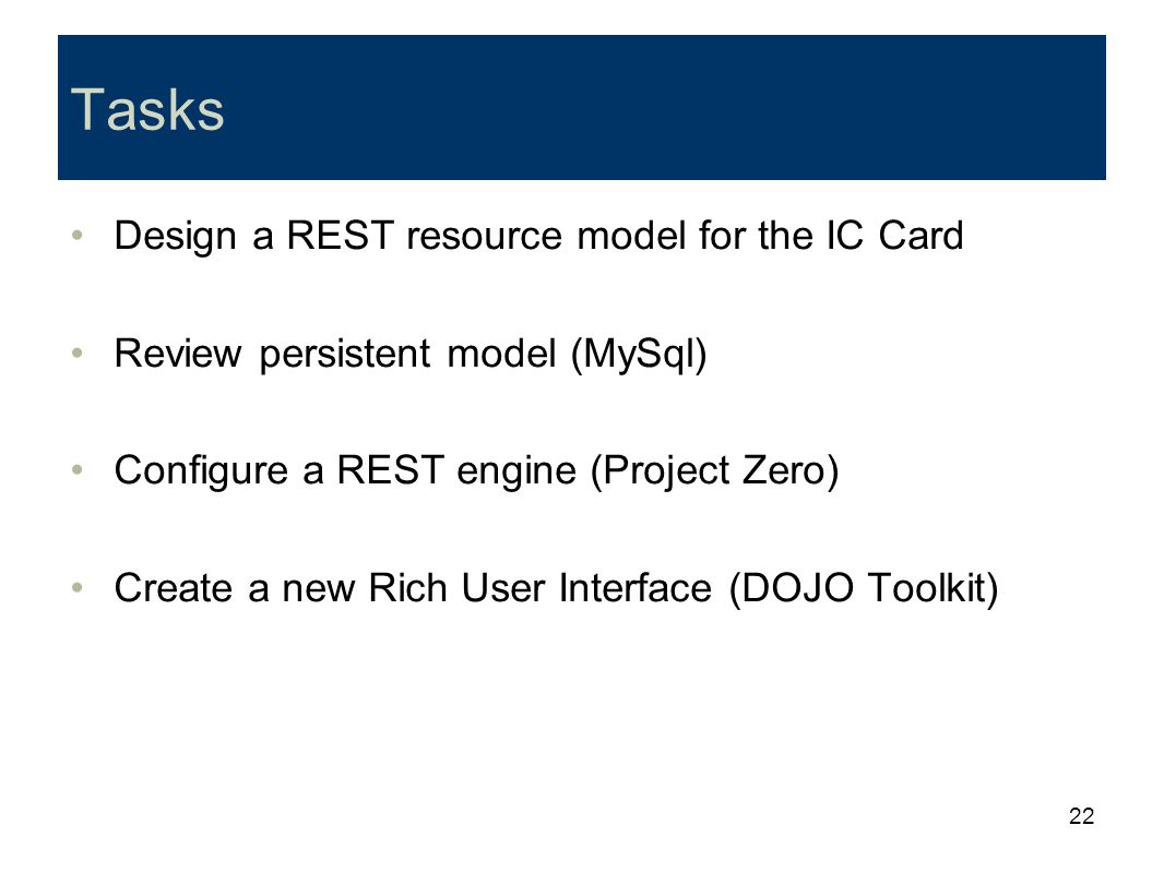 Tasks Design a REST resource model for the IC Card