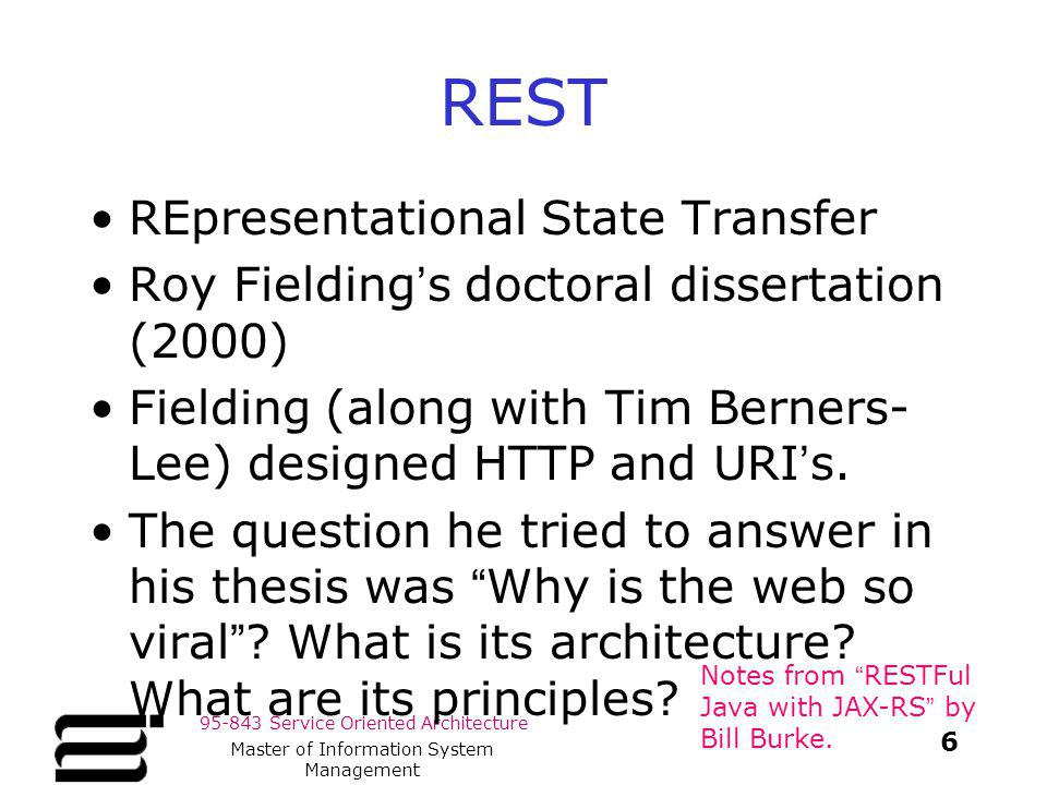 roy fielding in his doctoral dissertation Rest (software architectural style) read  the term representational state transfer was introduced and defined in 2000 by roy fielding in his doctoral dissertation.