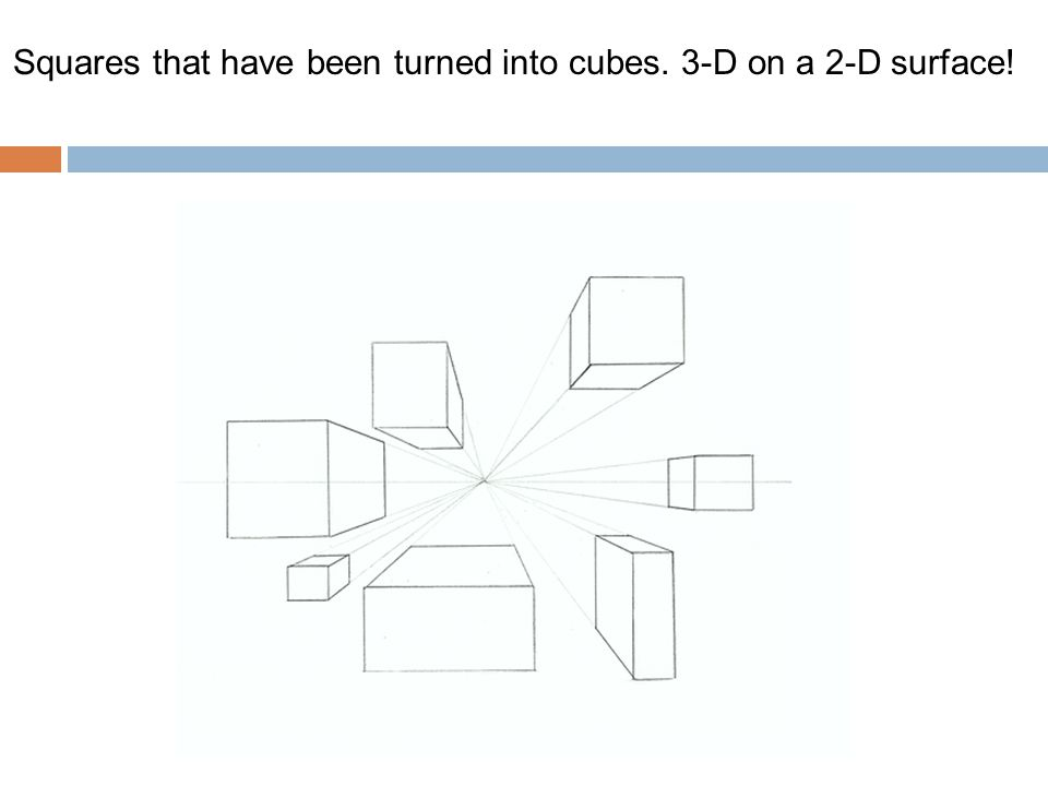 Squares that have been turned into cubes. 3-D on a 2-D surface!