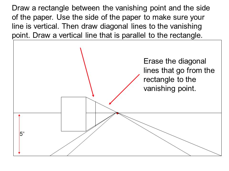 Draw a rectangle between the vanishing point and the side of the paper