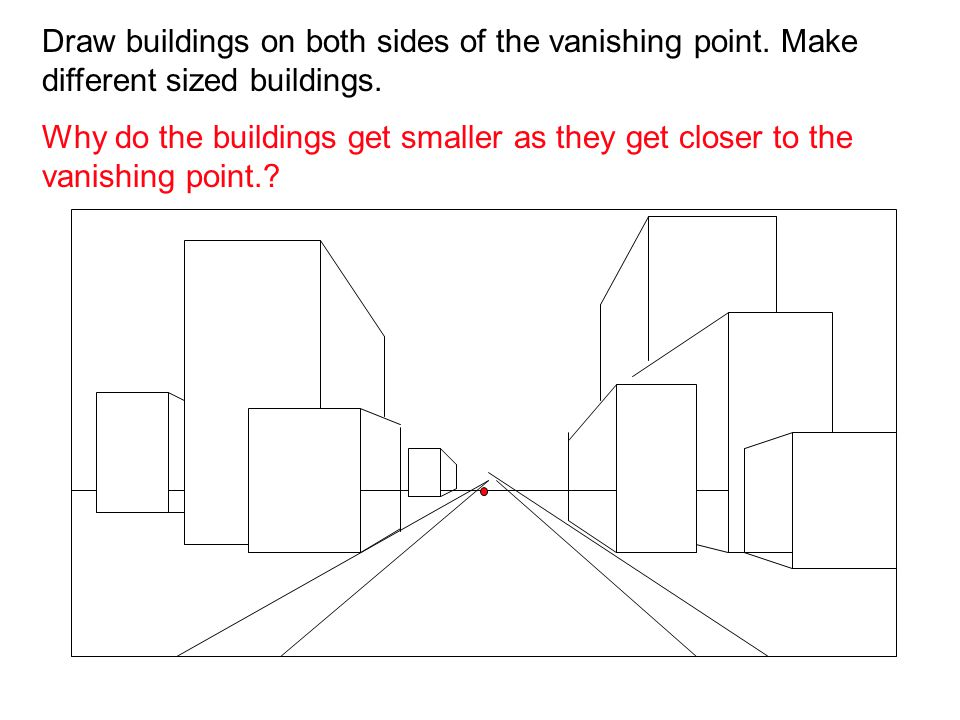 Draw buildings on both sides of the vanishing point