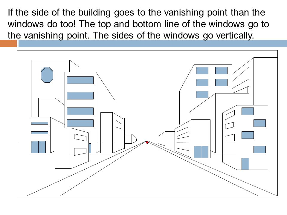 If the side of the building goes to the vanishing point than the windows do too.