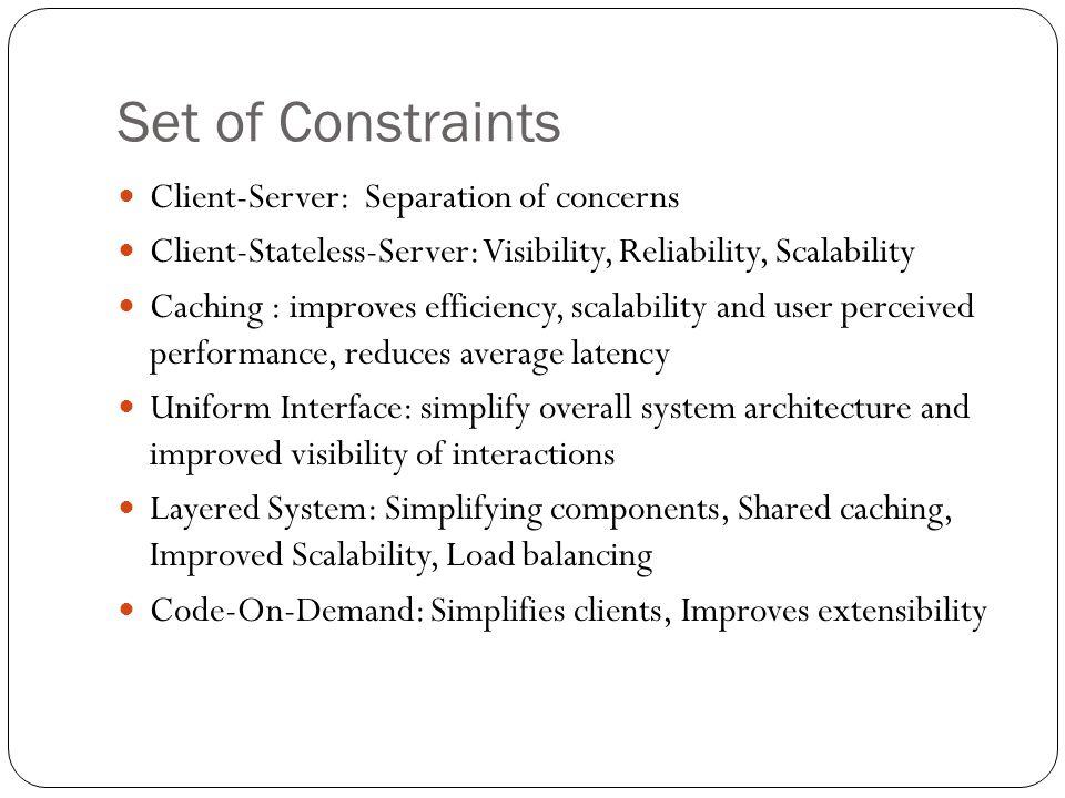 Set of Constraints Client-Server: Separation of concerns