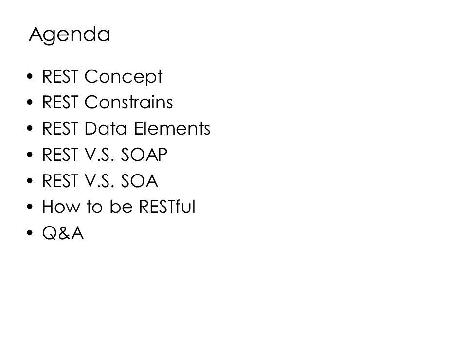 Agenda REST Concept REST Constrains REST Data Elements REST V.S. SOAP