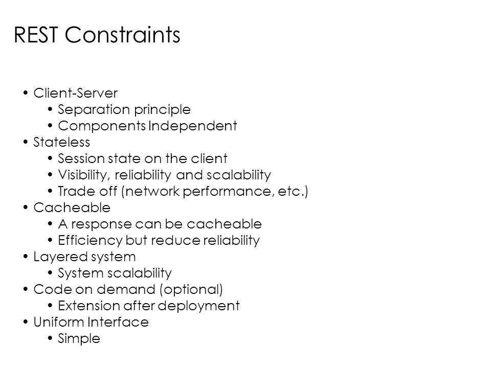 REST Constraints Client-Server Separation principle