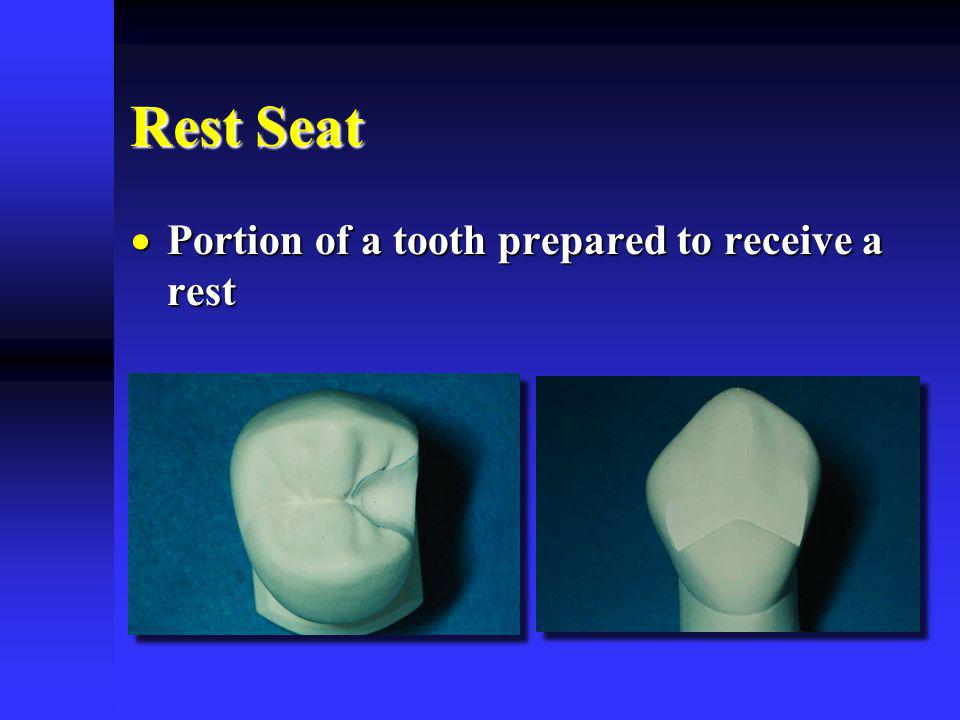 Rest Seat Portion of a tooth prepared to receive a rest