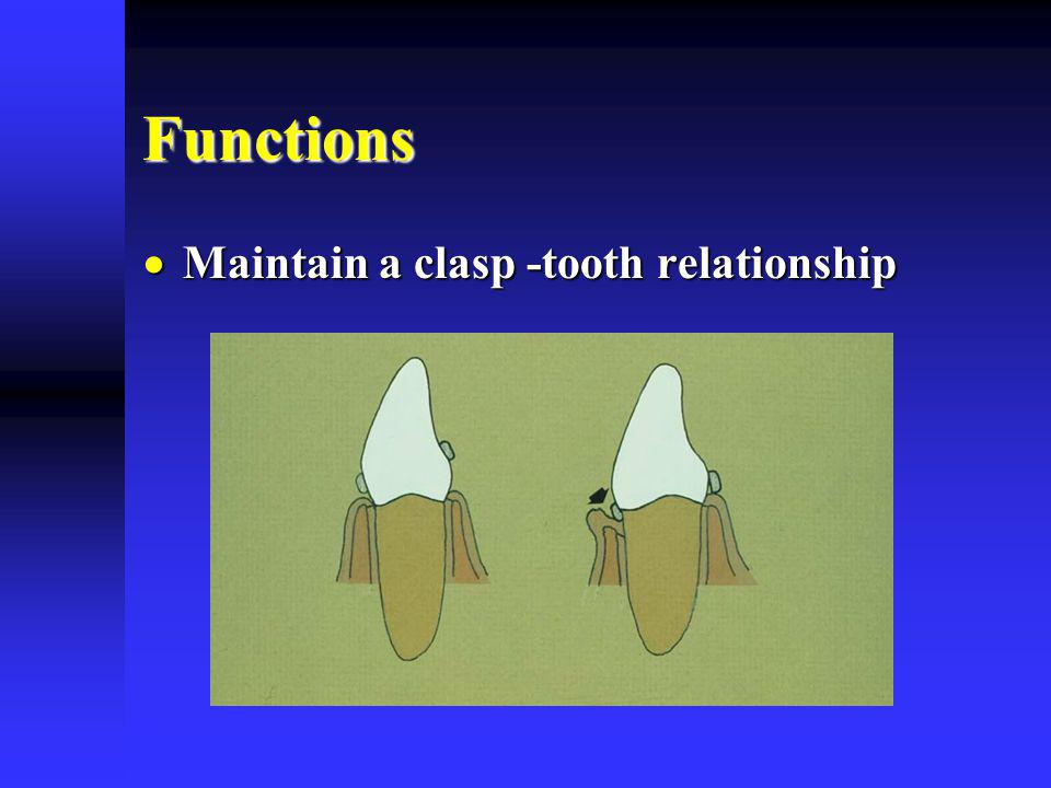 Functions Maintain a clasp -tooth relationship