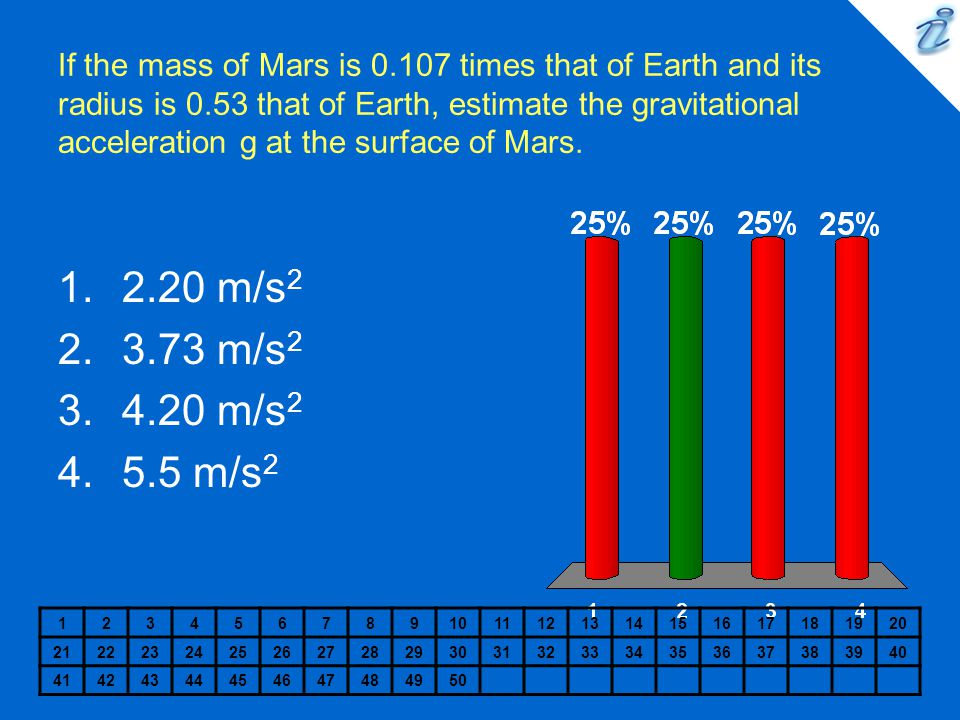 If the mass of Mars is 0. 107 times that of Earth and its radius is 0
