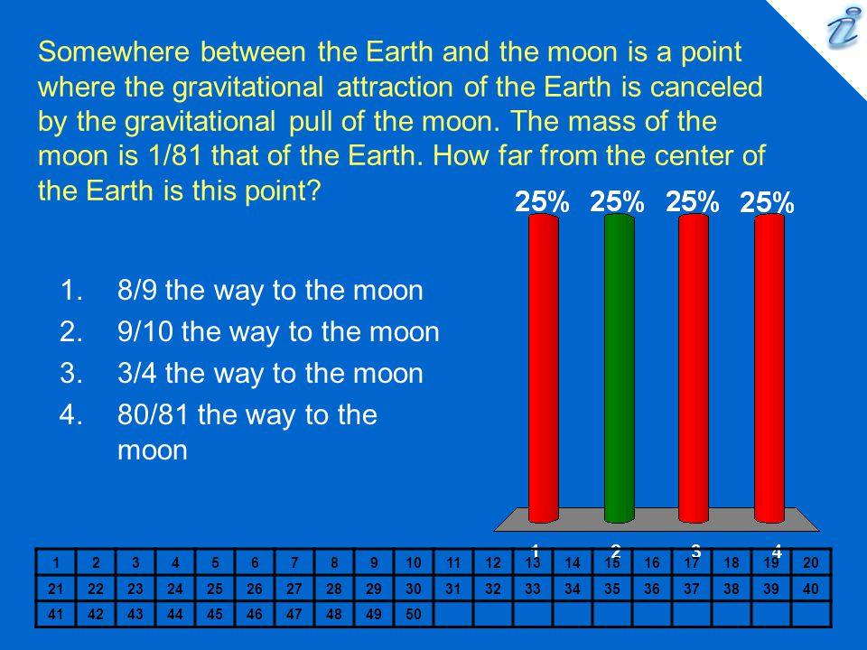 Somewhere between the Earth and the moon is a point where the gravitational attraction of the Earth is canceled by the gravitational pull of the moon. The mass of the moon is 1/81 that of the Earth. How far from the center of the Earth is this point