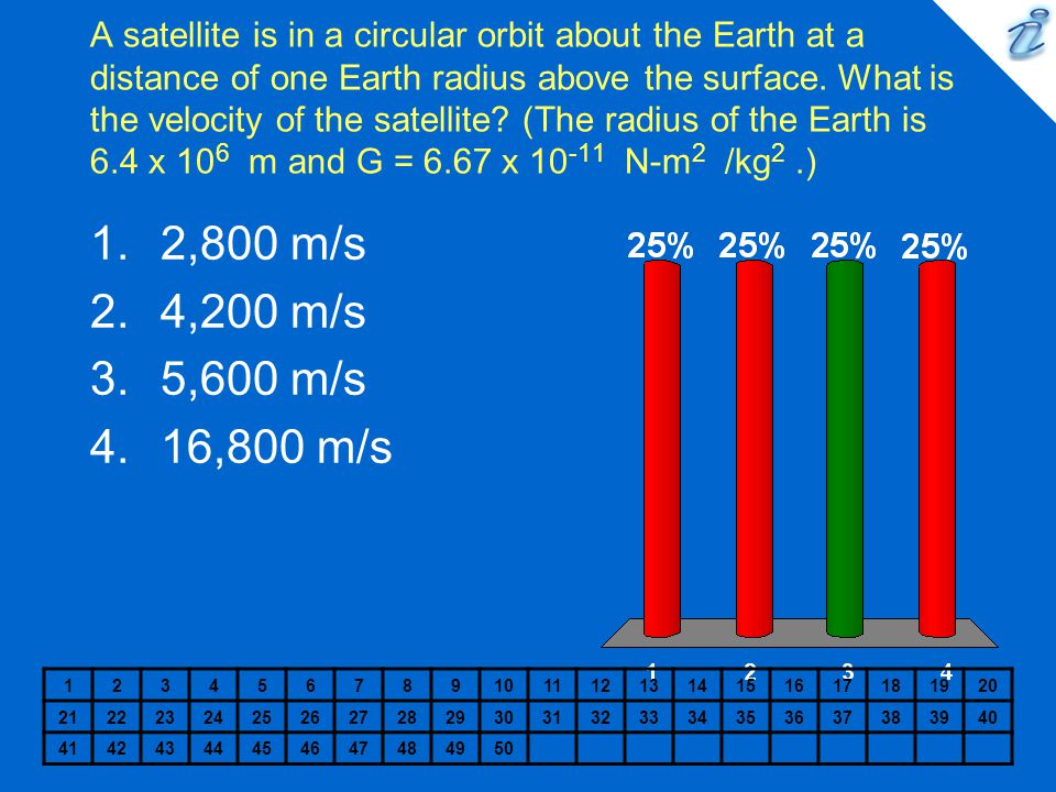A satellite is in a circular orbit about the Earth at a distance of one Earth radius above the surface. What is the velocity of the satellite (The radius of the Earth is 6.4 x 106 m and G = 6.67 x 10-11 N-m2 /kg2 .)