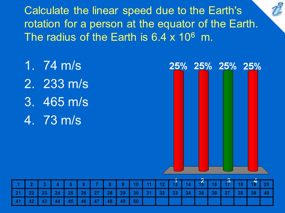 Calculate the linear speed due to the Earth s rotation for a person at the equator of the Earth. The radius of the Earth is 6.4 x 106 m.