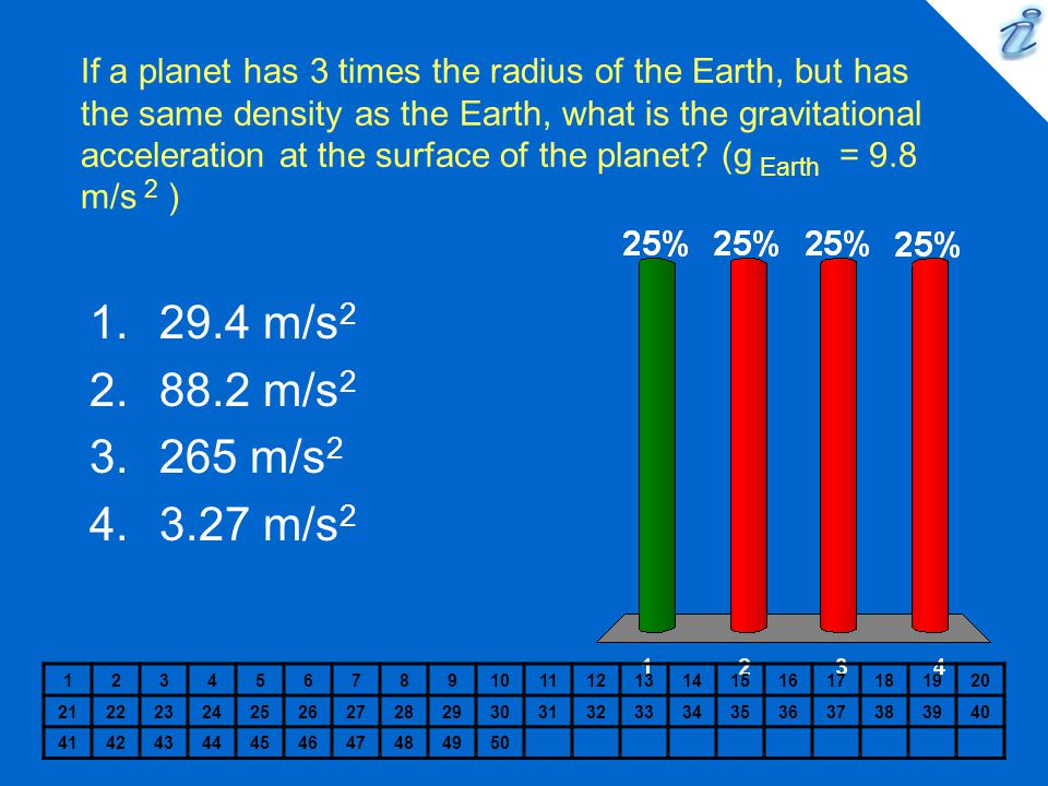 If a planet has 3 times the radius of the Earth, but has the same density as the Earth, what is the gravitational acceleration at the surface of the planet (g Earth = 9.8 m/s 2 )