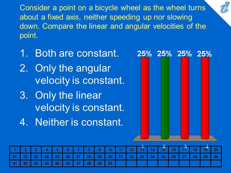 Only the angular velocity is constant.